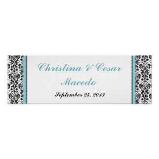 "22.5""x7.5"" Personalized Black Damask Baby Blue Poster"