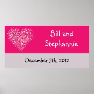 """22,5"""" x7.5"""" personalizó los pétalos florales rosad poster"""