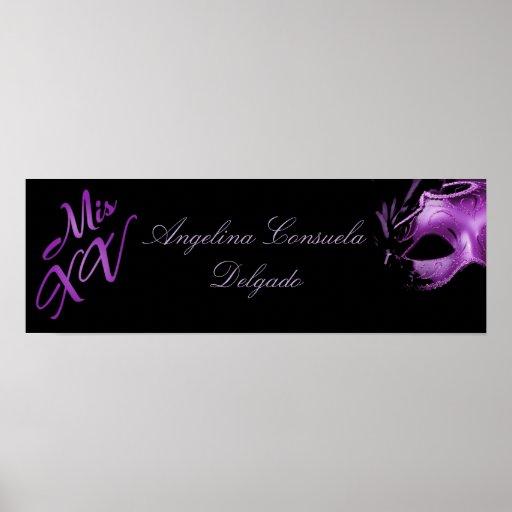 "22,5"" x7.5"" personalizó púrpura del Mis XV de la b Impresiones"