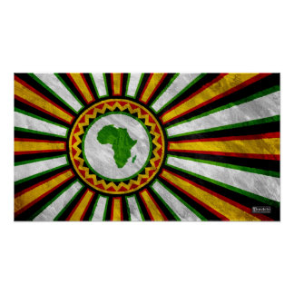 "22.5"" x 12.5"" Africa Rising Banner Painting Poster"