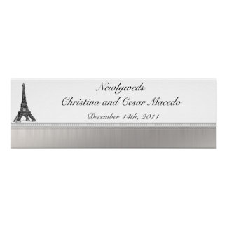 "22.5""x 7.5"" Personalized Banner Black Eiffel Tower Poster"