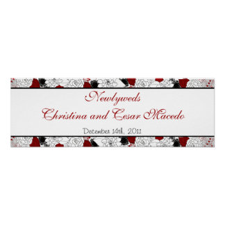 """22.5""""x 7.5"""" Personalized Banner Black Flowers Red Poster"""