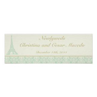 "22.5""x 7.5"" Personalized Banner Damask Paris Poster"