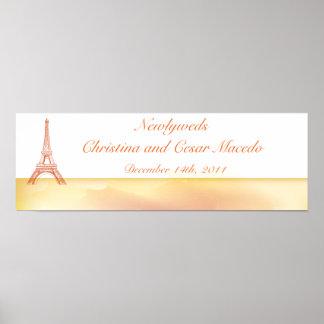 "22.5""x 7.5"" Personalized Banner Paris Peach Poster"