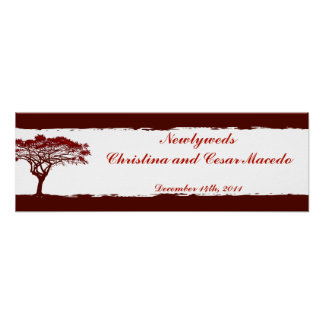 "22.5""x 7.5"" Personalized Banner Red Sunset Poster"