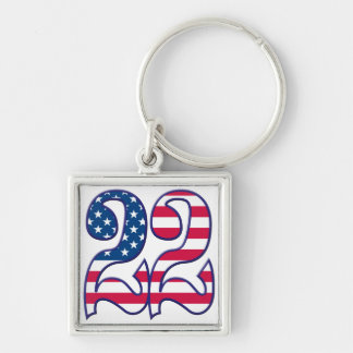 22 Age USA Silver-Colored Square Keychain