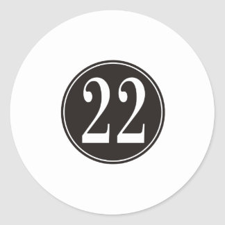 #22 Black Circle (front) Classic Round Sticker