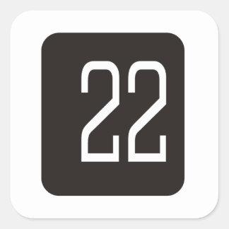 #22 Black Square Stickers