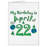 22 de abril cumpleaños del Día de la Tierra Tarjeta