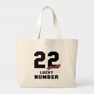 22 es mi número afortunado bolsa tela grande