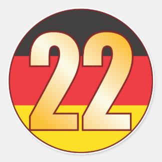 22 GERMANY Gold Classic Round Sticker