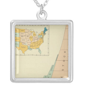 22 Growth elements of population 17901890 Square Pendant Necklace