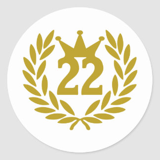22-real-laurel-crown classic round sticker