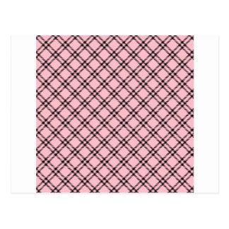 22 - Three Bands Small Diamond - Black on Pink.png Postcard