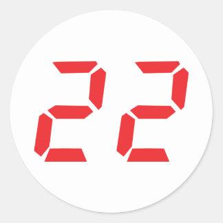 22 twenty-two red alarm clock digital number classic round sticker