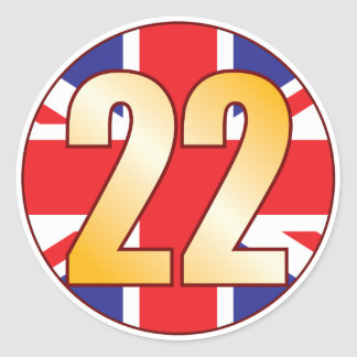 22 UK Gold Classic Round Sticker