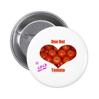 22 un tomate caliente pin redondo 5 cm