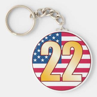 22 USA Gold Basic Round Button Keychain