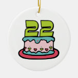 22 Year Old Birthday Cake Christmas Ornament