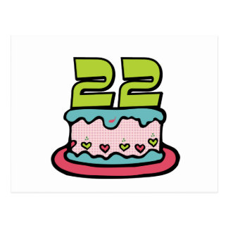 22 Year Old Birthday Cake Postcard