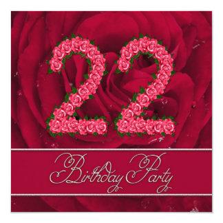 22da invitación de la fiesta de cumpleaños con los invitación 13,3 cm x 13,3cm