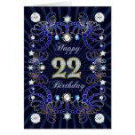 22da tarjeta de cumpleaños con las masas de joyas