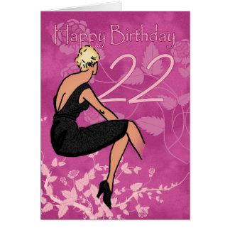 22da tarjeta de cumpleaños elegante - hembra moder