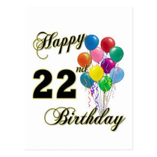 22do cumpleaños feliz con los globos postal