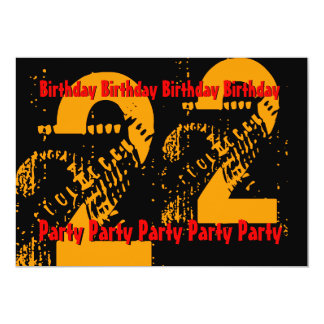 22do Cumpleaños negro rojo PartyTemplate del oro Anuncio Personalizado