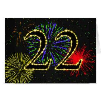 22do Tarjeta de cumpleaños con los fuegos