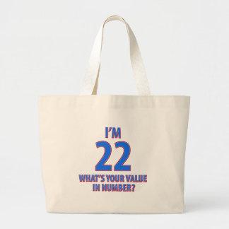 22dos diseños del cumpleaños bolsa tela grande