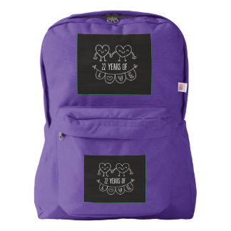 22nd Anniversary Gift Chalk Hearts Backpack