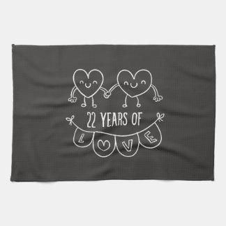22nd Anniversary Gift Chalk Hearts Hand Towel