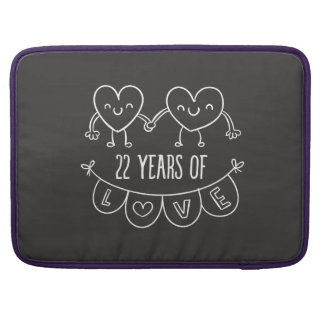 22nd Anniversary Gift Chalk Hearts MacBook Pro Sleeves