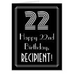 """[ Thumbnail: 22nd Birthday — Art Deco Inspired Look """"22"""" + Name Card ]"""