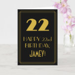 "[ Thumbnail: 22nd Birthday ~ Art Deco Inspired Look ""22"" & Name Card ]"