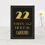 "[ Thumbnail: 22nd Birthday – Art Deco Inspired Look ""22"" & Name Card ]"