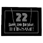 "[ Thumbnail: 22nd Birthday — Art Deco Inspired Look ""22"" & Name Gift Bag ]"