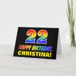 [ Thumbnail: 22nd Birthday: Bold, Fun, Simple, Rainbow 22 Card ]