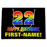 [ Thumbnail: 22nd Birthday: Bold, Fun, Simple, Rainbow 22 Gift Bag ]