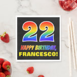[ Thumbnail: 22nd Birthday: Bold, Fun, Simple, Rainbow 22 Napkins ]