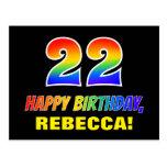 [ Thumbnail: 22nd Birthday: Bold, Fun, Simple, Rainbow 22 Postcard ]