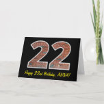 "[ Thumbnail: 22nd Birthday - Brick Wall Pattern ""22"" W/ Name Card ]"