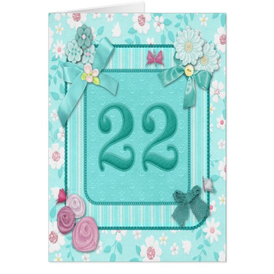 22nd birthday card with flowers