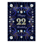 22nd birthday card with masses of jewels