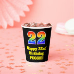 [ Thumbnail: 22nd Birthday: Colorful, Fun, Exciting, Rainbow 22 ]