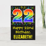 [ Thumbnail: 22nd Birthday: Colorful Music Symbols + Rainbow 22 Card ]