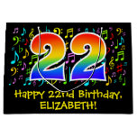 [ Thumbnail: 22nd Birthday - Colorful Music Symbols, Rainbow 22 Gift Bag ]
