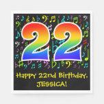 [ Thumbnail: 22nd Birthday - Colorful Music Symbols, Rainbow 22 Napkins ]