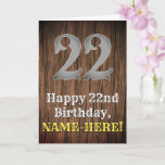[ Thumbnail: 22nd Birthday: Country Western Inspired Look, Name Card ]